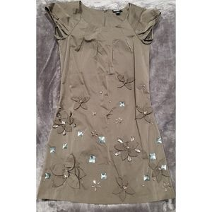 DKNY Shift Olive Green Embellished Dress